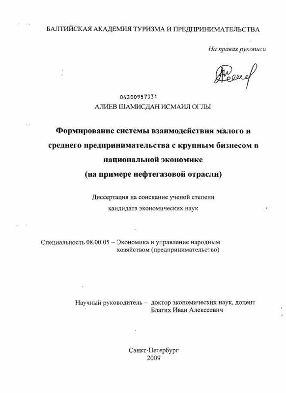 Титульный лист Формирование системы взаимодействия малого и среднего предпринимательства с крупным бизнесом в национальной экономике : на примере нефтегазовой отрасли