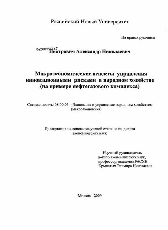Титульный лист Макроэкономические аспекты управления инновационными рисками в народном хозяйстве : на примере нефтегазового комплекса