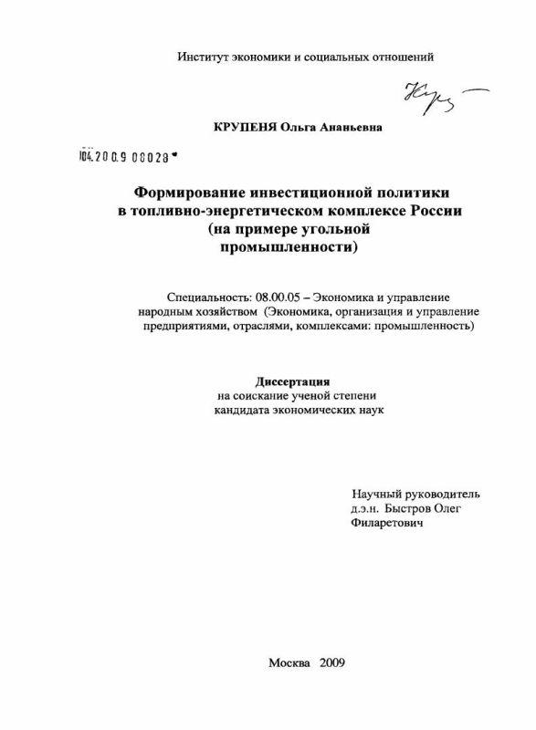 Титульный лист Формирование инвестиционной политики в топливно-энергетическом комплексе России : на примере угольной промышленности