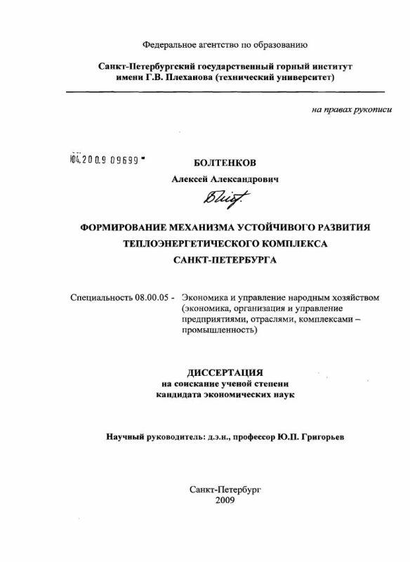 Титульный лист Формирование механизма устойчивого развития теплоэнергетического комплекса Санкт-Петербурга