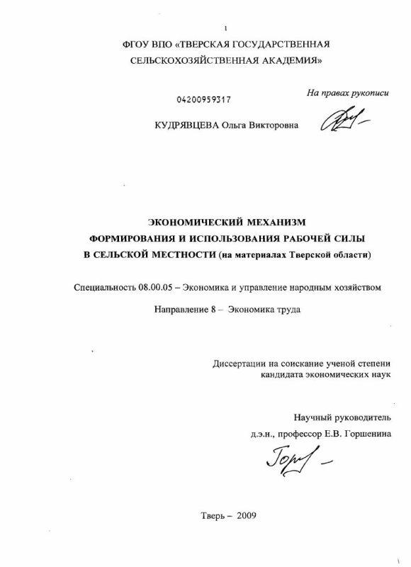 Титульный лист Экономический механизм формирования и использования рабочей силы в сельской местности : на материалах Тверской области