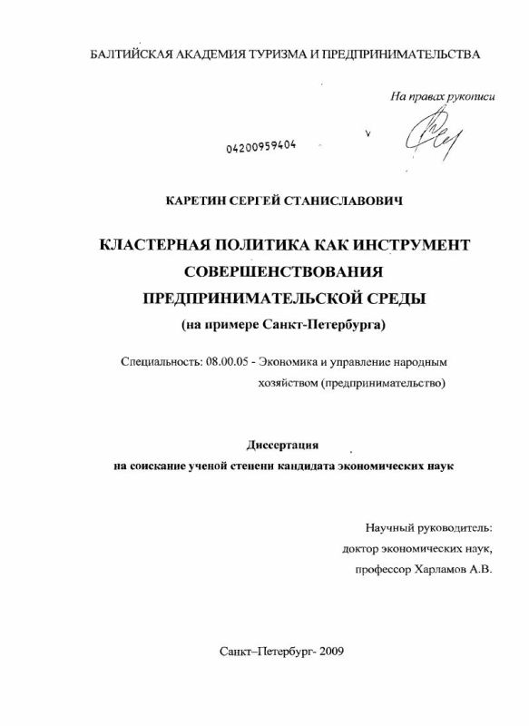 Титульный лист Кластерная политика как инструмент совершенствования предпринимательской среды : на примере Санкт-Петербурга