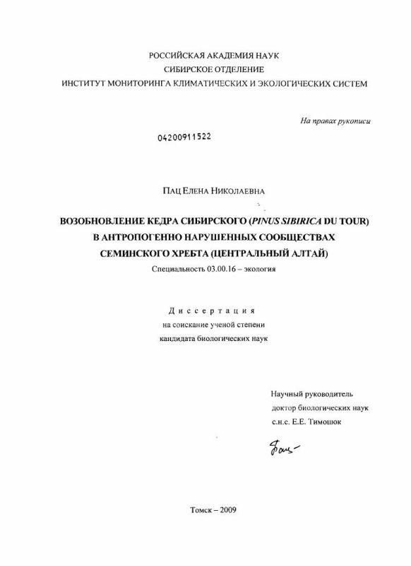 Титульный лист Возобновление кедра сибирского (Pinus sibirica du tour) в антропогенно нарушенных сообществах Семинского хребта : Центральный Алтай