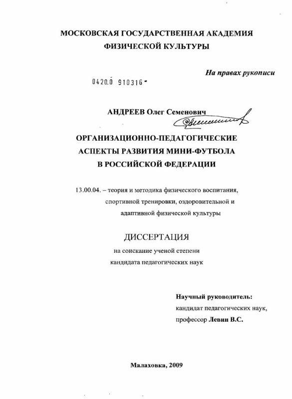 Титульный лист Организационно-педагогические аспекты развития мини-футбола в Российской Федерации