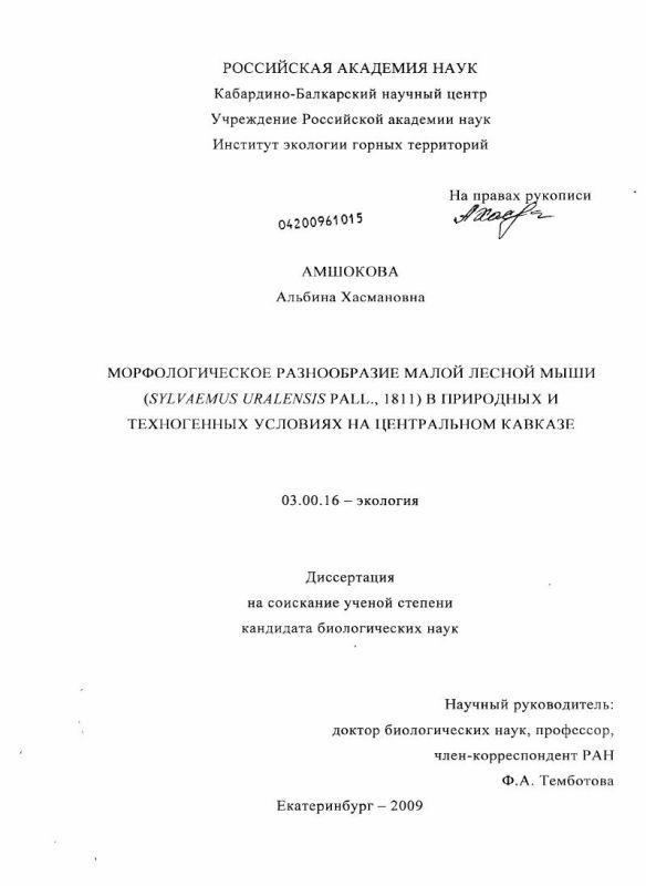 Титульный лист Морфологическое разнообразие малой лесной мыши (Sylvaemus Uralensis Pall., 1811) в природных и техногенных условиях на Центральном Кавказе