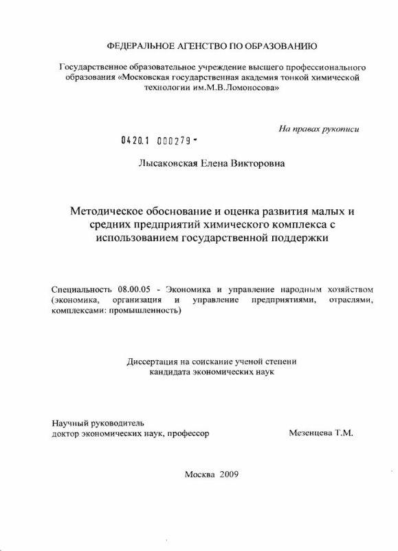 Титульный лист Методическое обоснование и оценка развития малых и средних предприятий химического комплекса с использованием государственной поддержки