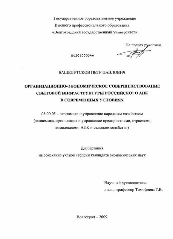 Титульный лист Организационно-экономическое совершенствование сбытовой инфраструктуры российского АПК в современных условиях