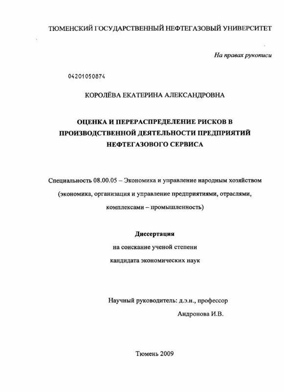 Титульный лист Оценка и перераспределение рисков в производственной деятельности предприятий нефтегазового сервиса