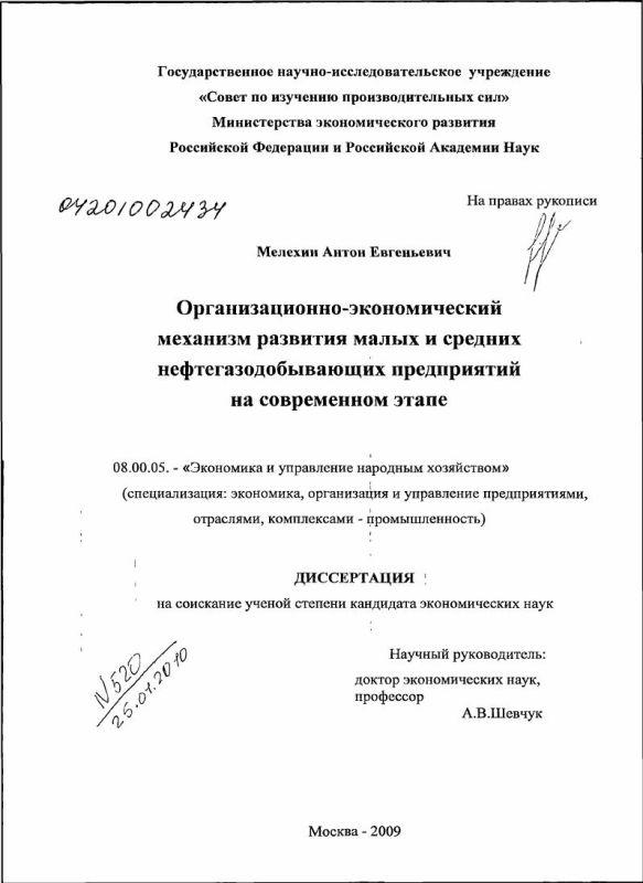 Титульный лист Организационно-экономический механизм развития малых и средних нефтегазодобывающих предприятий на современном этапе