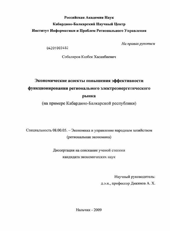 Титульный лист Экономические аспекты повышения эффективности функционирования регионального электроэнергетического рынка : на примере Кабардино-Балкарской республики