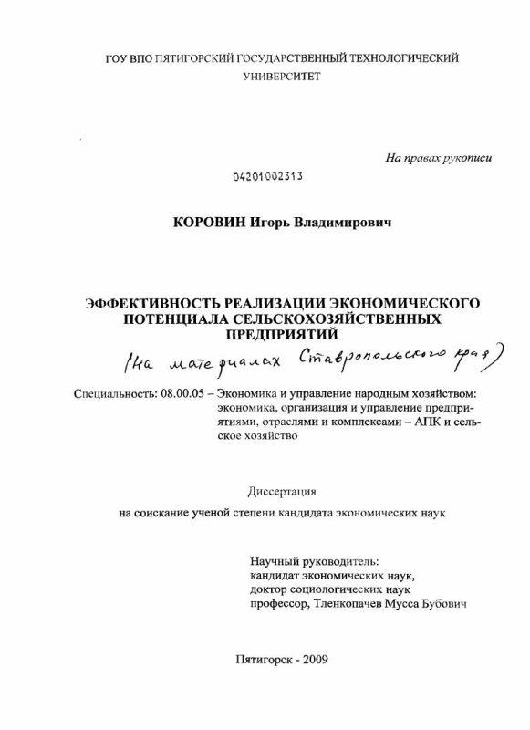Титульный лист Эффективность реализации экономического потенциала сельскохозяйственных предприятий : на материалах Ставропольского края