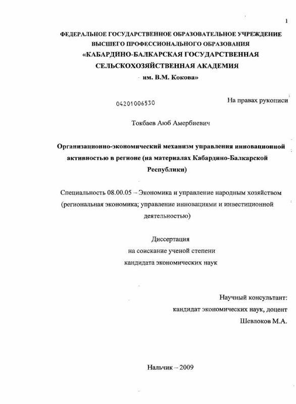 Титульный лист Организационно-экономический механизм управления инновационной активностью в регионе : на материалах Кабардино-Балкарской Республики