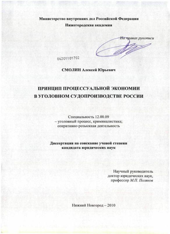 Титульный лист Принцип процессуальной экономии в уголовном судопроизводстве России