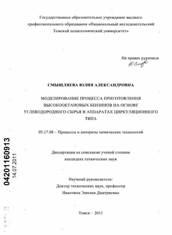 Титульный лист Моделирование процесса приготовления высокооктановых бензинов на основе углеводородного сырья в аппаратах циркуляционного типа
