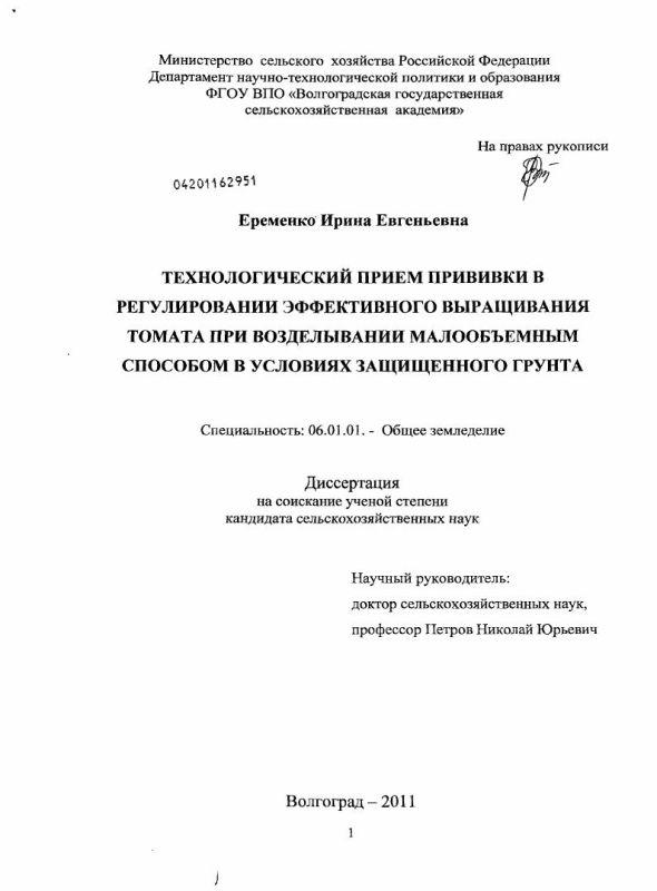 Титульный лист Технологический прием прививки в регулировании эффективного выращивания томата при возделывании малообъемным способом в условиях защищенного грунта