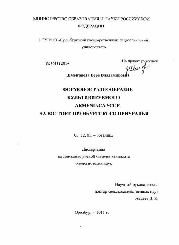 Титульный лист Формовое разнообразие культивируемого Armeniaca scop. на востоке Оренбургского Приуралья