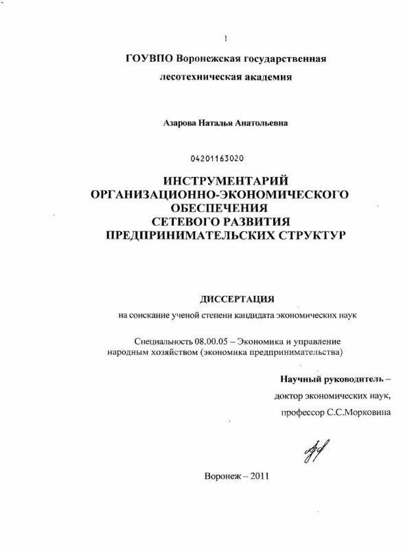 Титульный лист Инструментарий организационно-экономического обеспечения сетевого развития предпринимательских структур