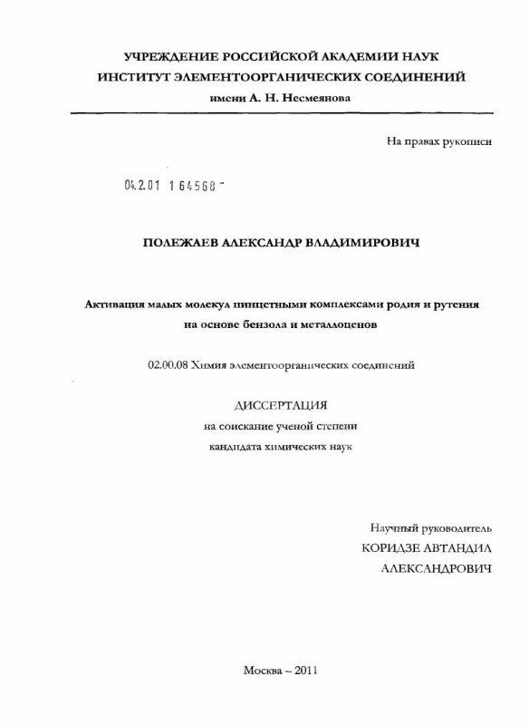 Титульный лист Активация малых молекул пинцетными комплексами родия и рутения на основе бензола и металлоценов