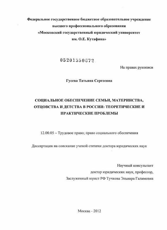 Титульный лист Социальное обеспечение семьи, материнства, отцовства и детства в России: теоретические и практические проблемы