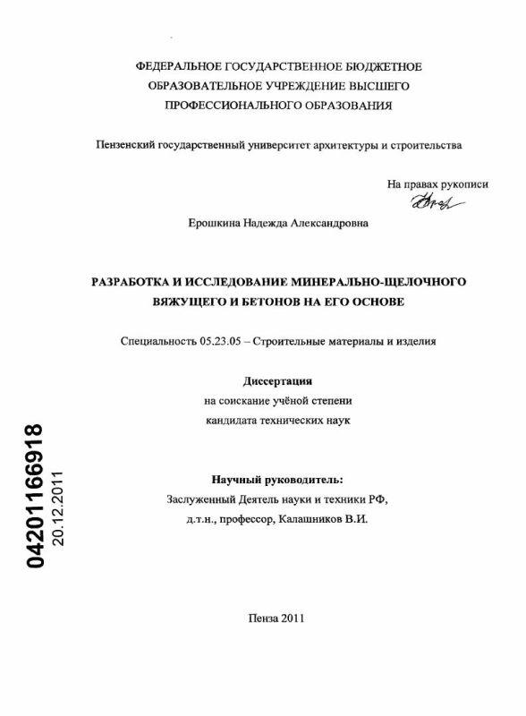Титульный лист Разработка и исследование минерально-щелочного вяжущего и бетонов на его основе