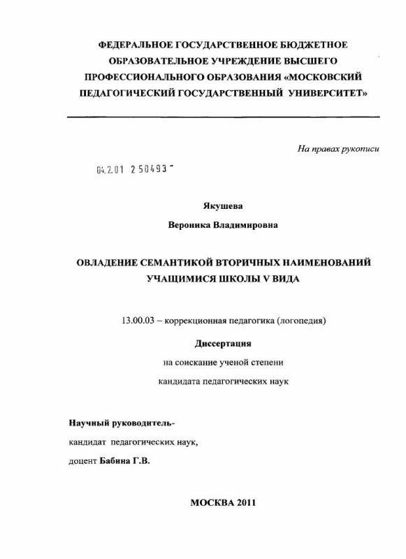 Титульный лист Овладение семантикой вторичных наименований учащимися школы V вида