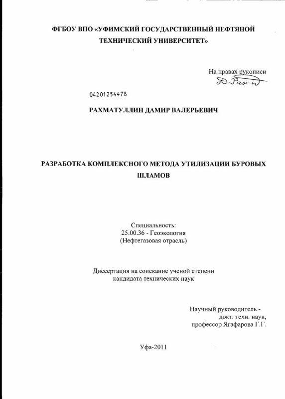Титульный лист Разработка комплексного метода утилизации буровых шламов
