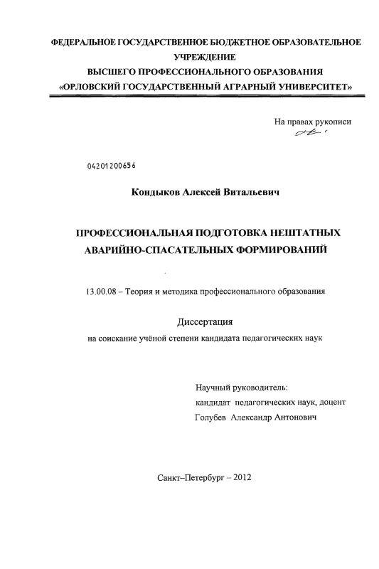 Титульный лист Профессиональная подготовка нештатных аварийно-спасательных формирований