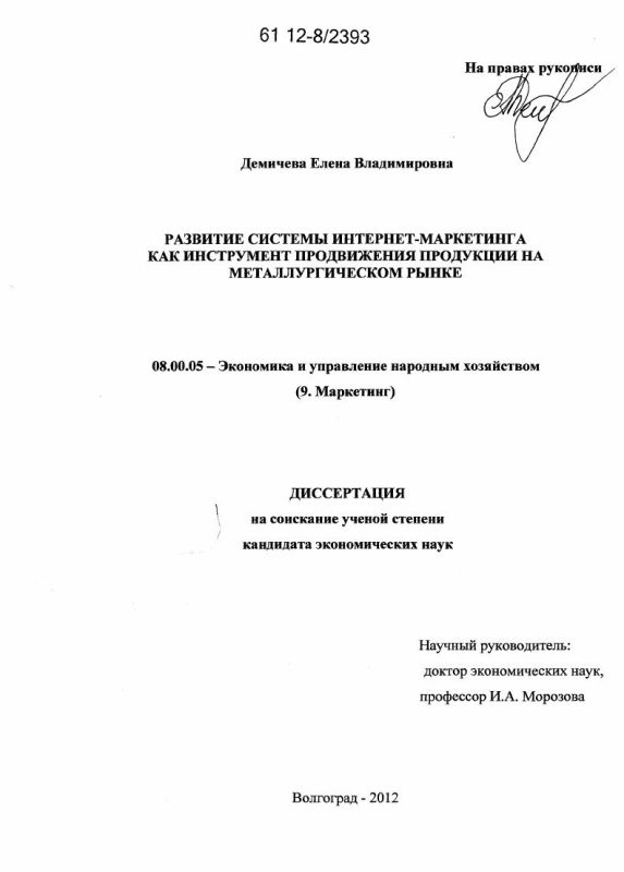 Титульный лист Развитие системы интернет-маркетинга как инструмент продвижения продукции на металлургическом рынке
