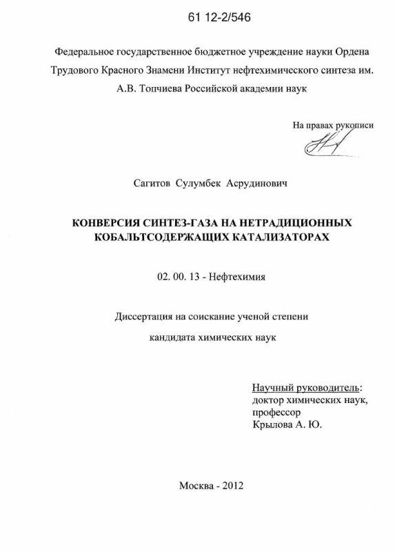Титульный лист Конверсия синтез-газа на нетрадиционных кобальтсодержащих катализаторах