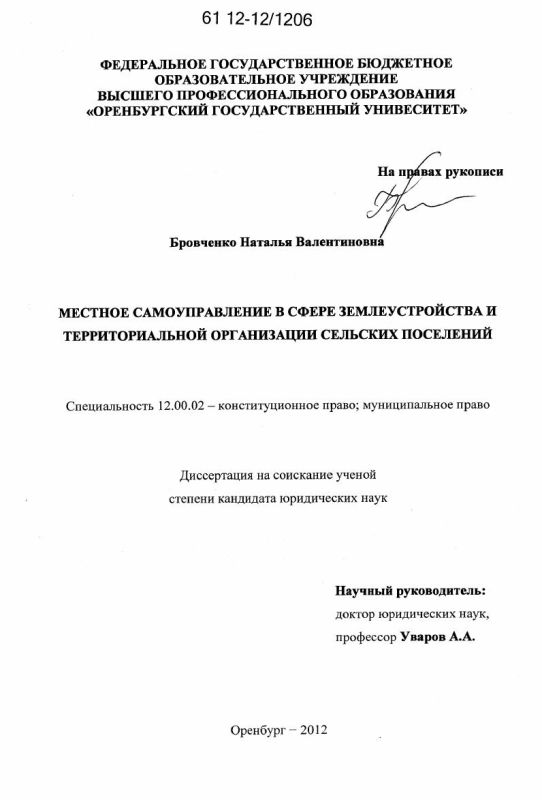 Титульный лист Местное самоуправление в сфере землеустройства и территориальной организации сельских поселений