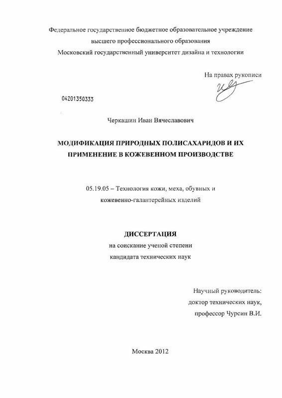 Титульный лист Модификация природных полисахаридов и их применение в кожевенном производстве