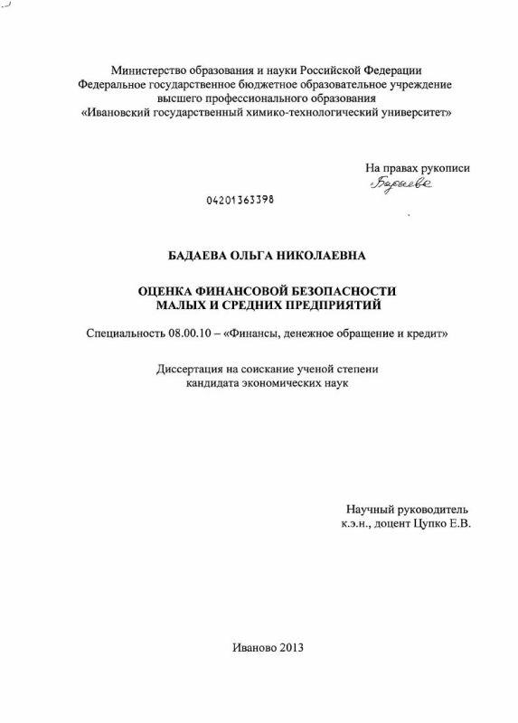 Титульный лист Оценка финансовой безопасности малых и средних предприятий