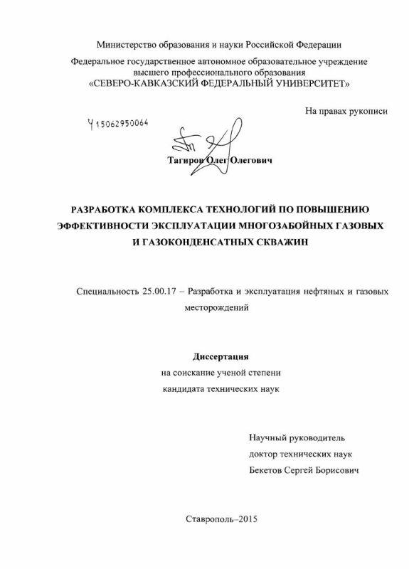 Титульный лист Разработка комплекса технологий по повышению эффективности эксплуатации многозабойных газовых и газоконденсатных скважин