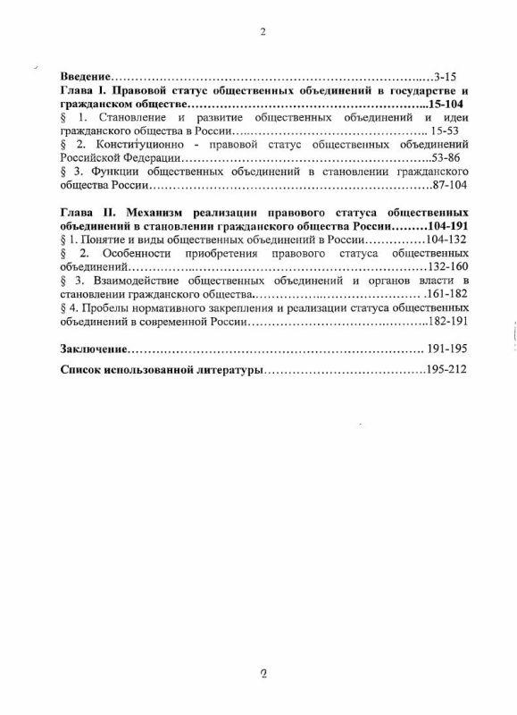 Оглавление Конституционно-правовой статус общественных объединений и механизм его реализации в становлении гражданского общества России