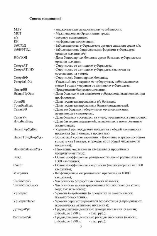 Содержание Анализ эпидемиологических показателей туберкулеза и их зависимость от социально-экологических факторов в регионах России